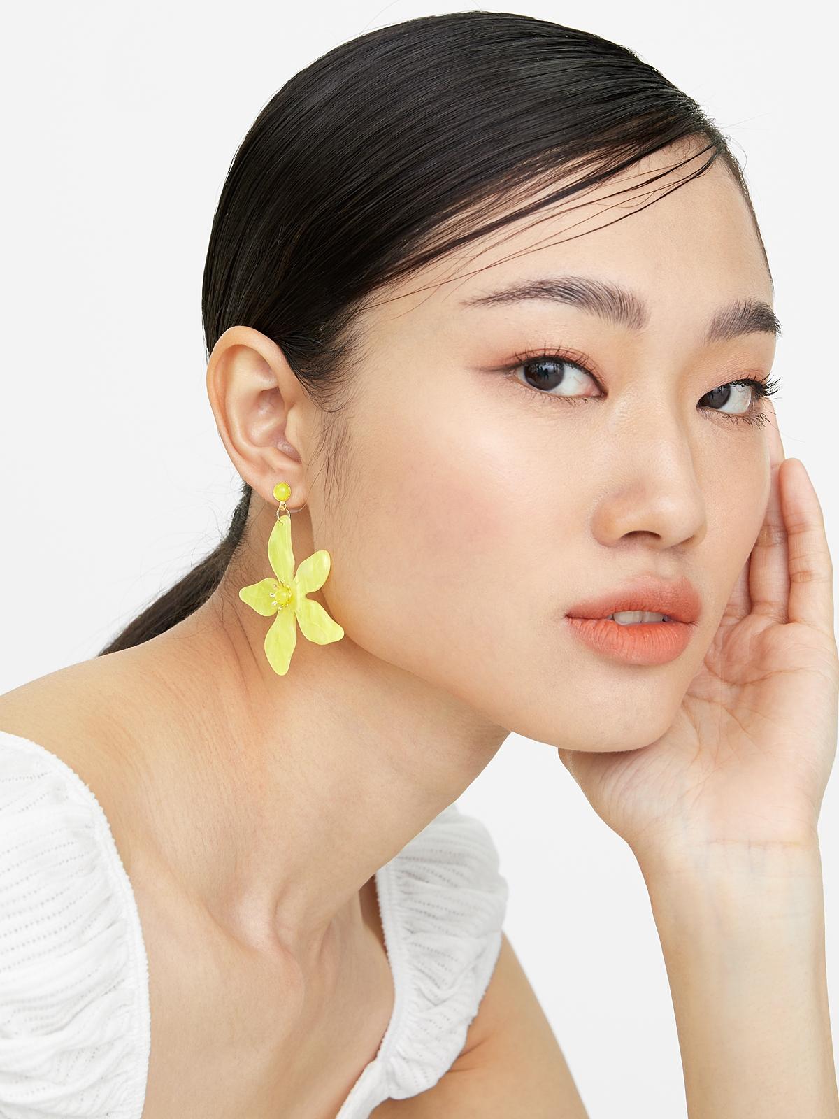 Flower Drop Earrings Yellow