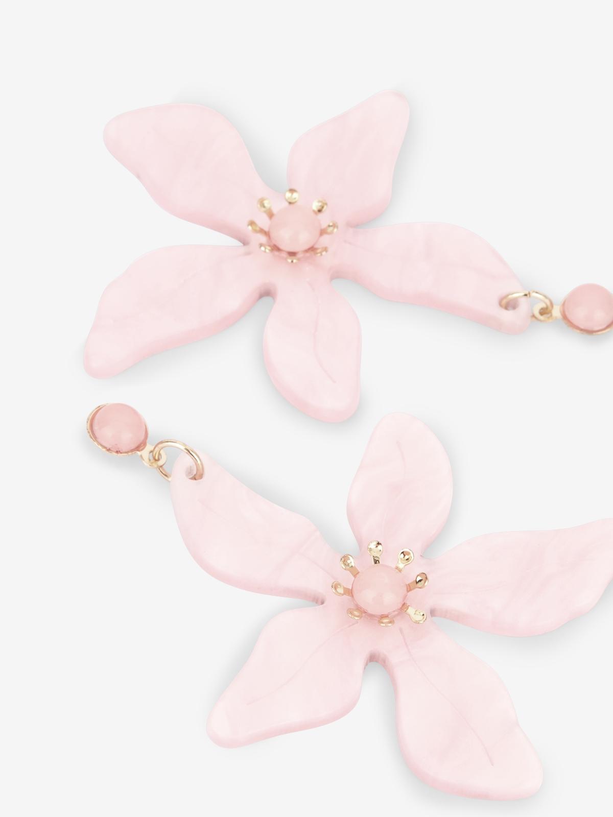 Flower Drop Earrings Pink