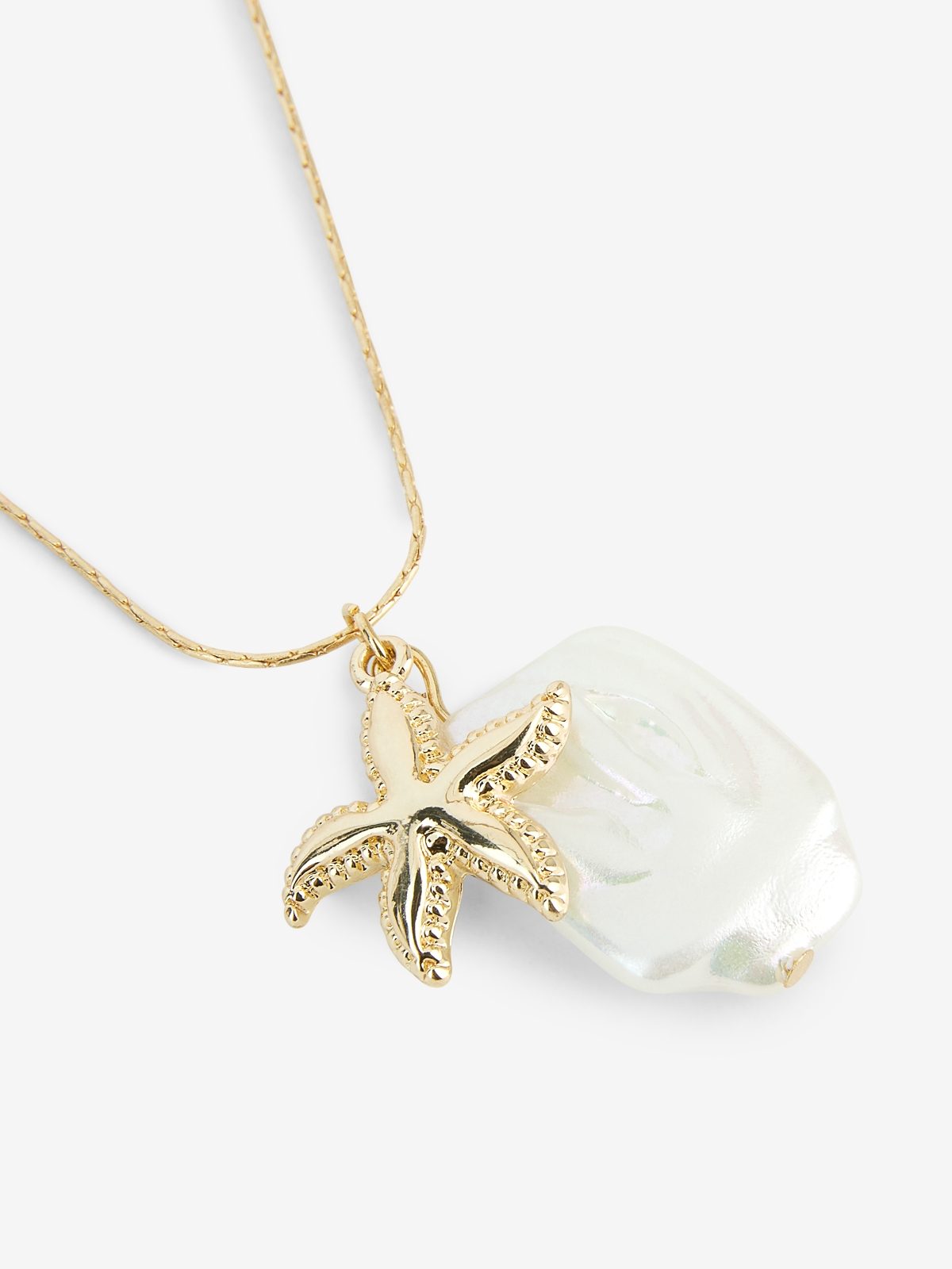 Pearl Starfish Pendant Necklace Gold