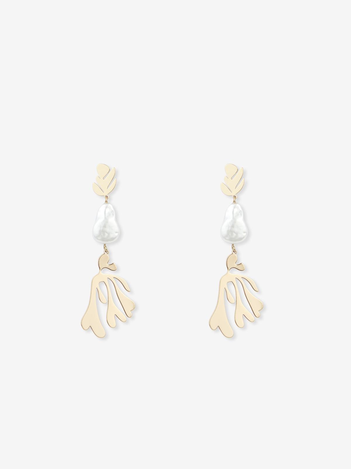 Leaf Pearl Drop Earrings Gold