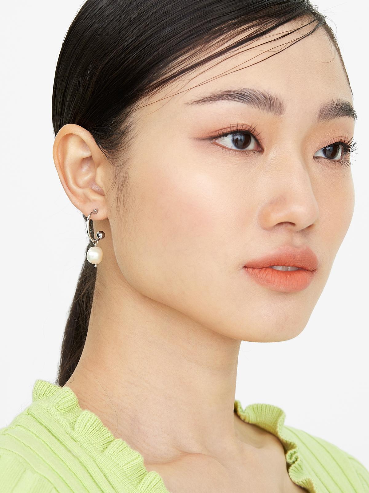 Pearl Hoop Drop Earrings Silver