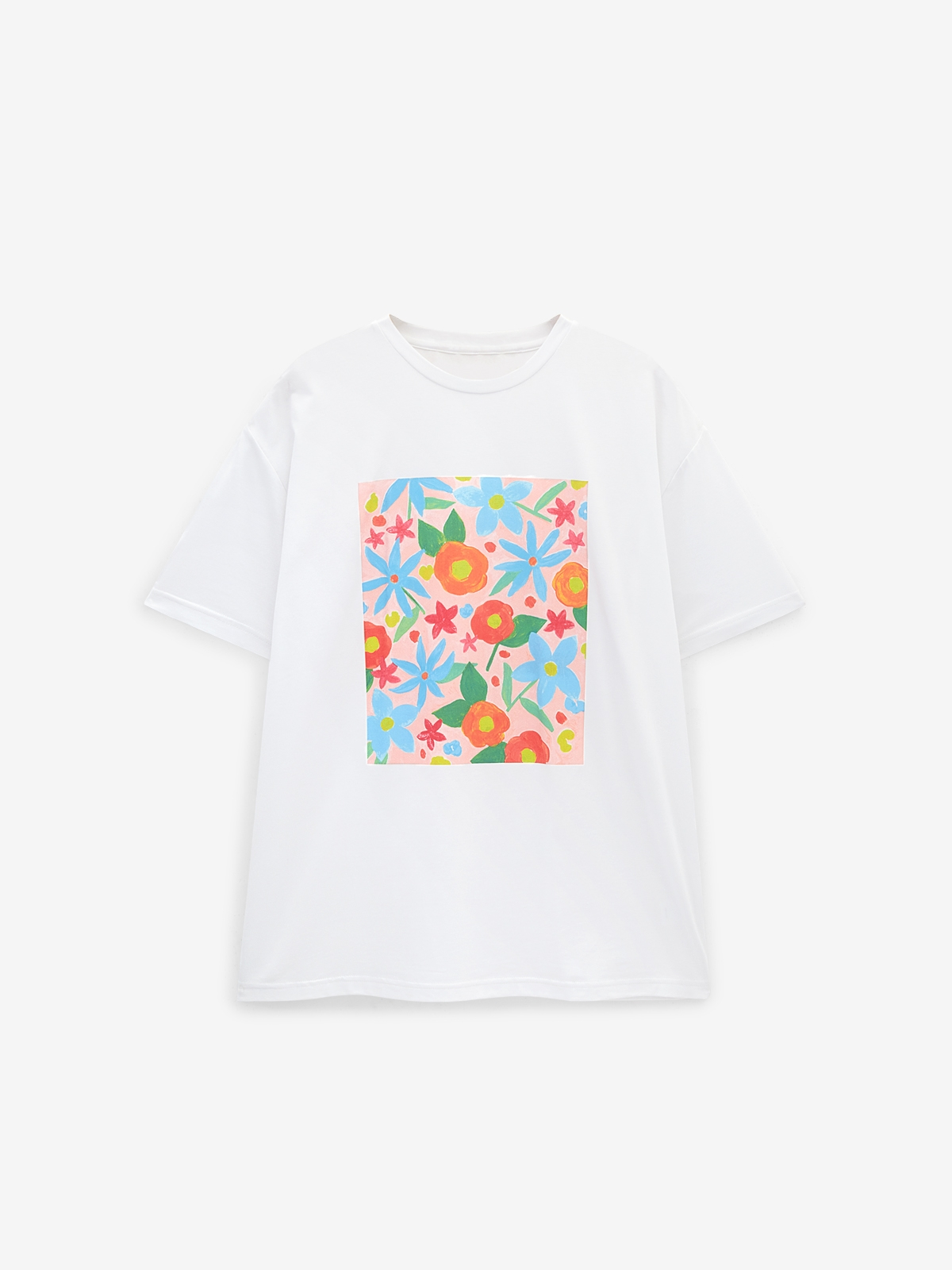 Floral Paint Style Graphic Tee White