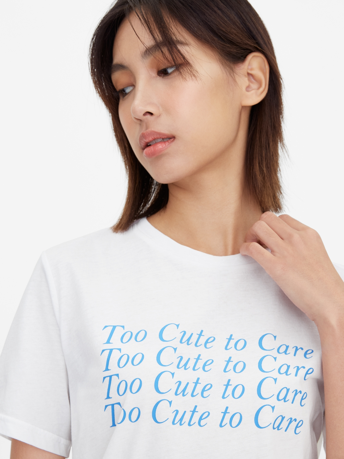 Too Cute To Care Graphic Tee White