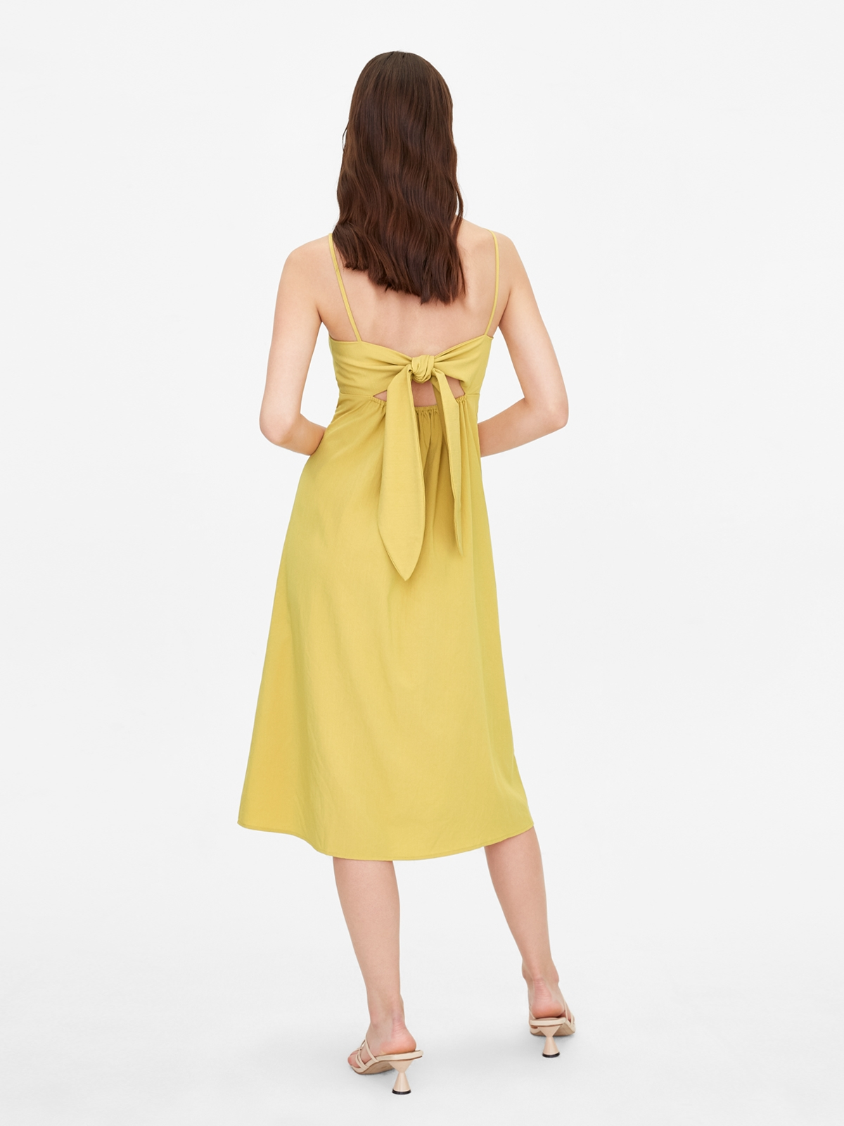 Circle Front Cut Out Dress Yellow