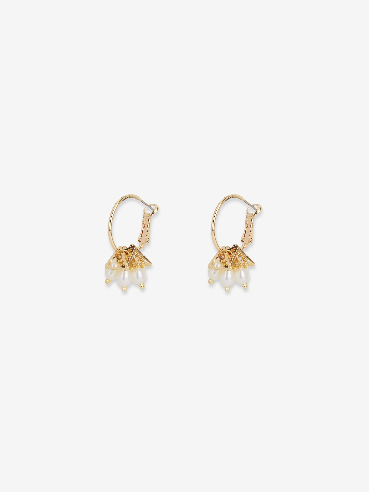Stacked Triangle Pearl Drop Earrings Gold