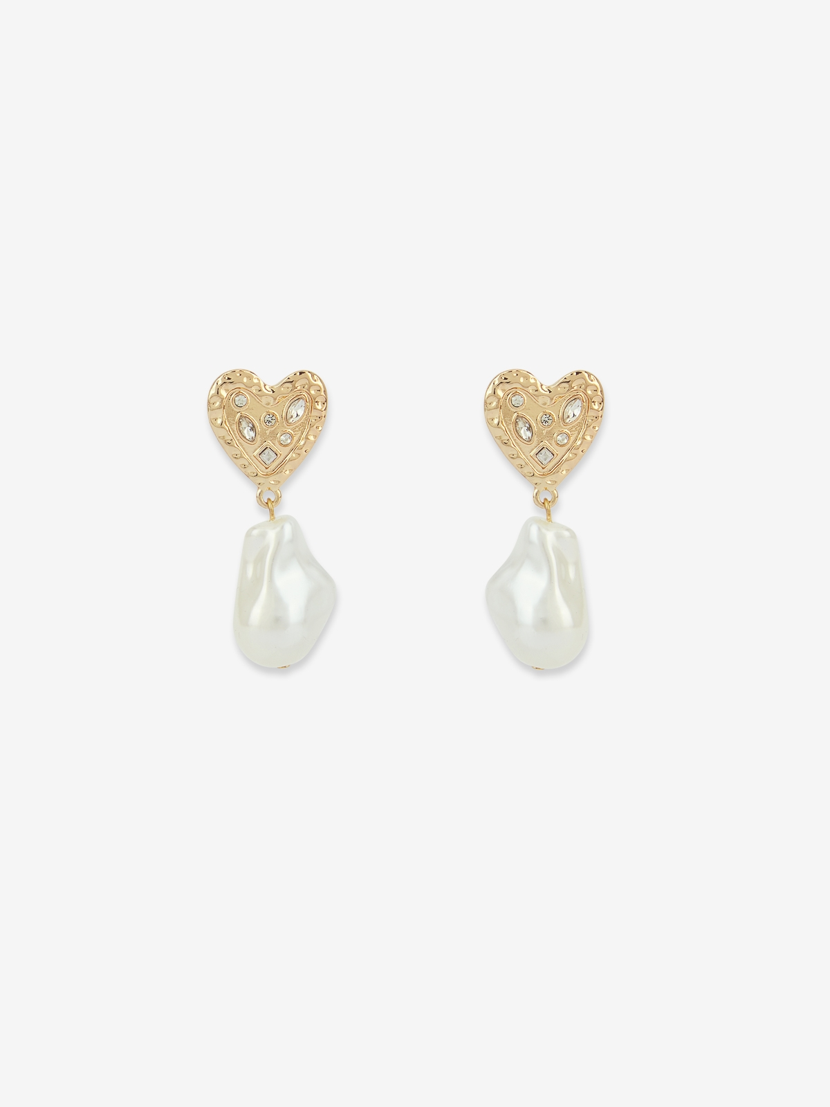 Heart Plate Pearl Drop Earrings Gold