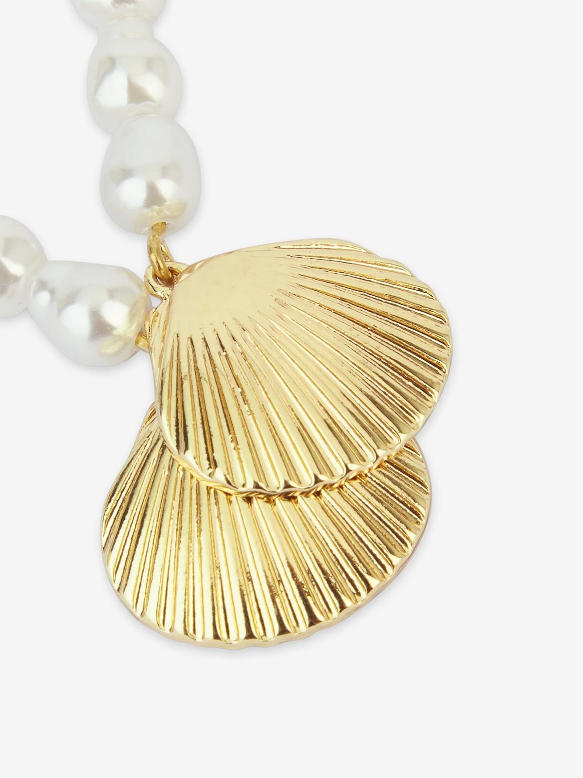 Triple Pearl Shell Drop Earrings Gold
