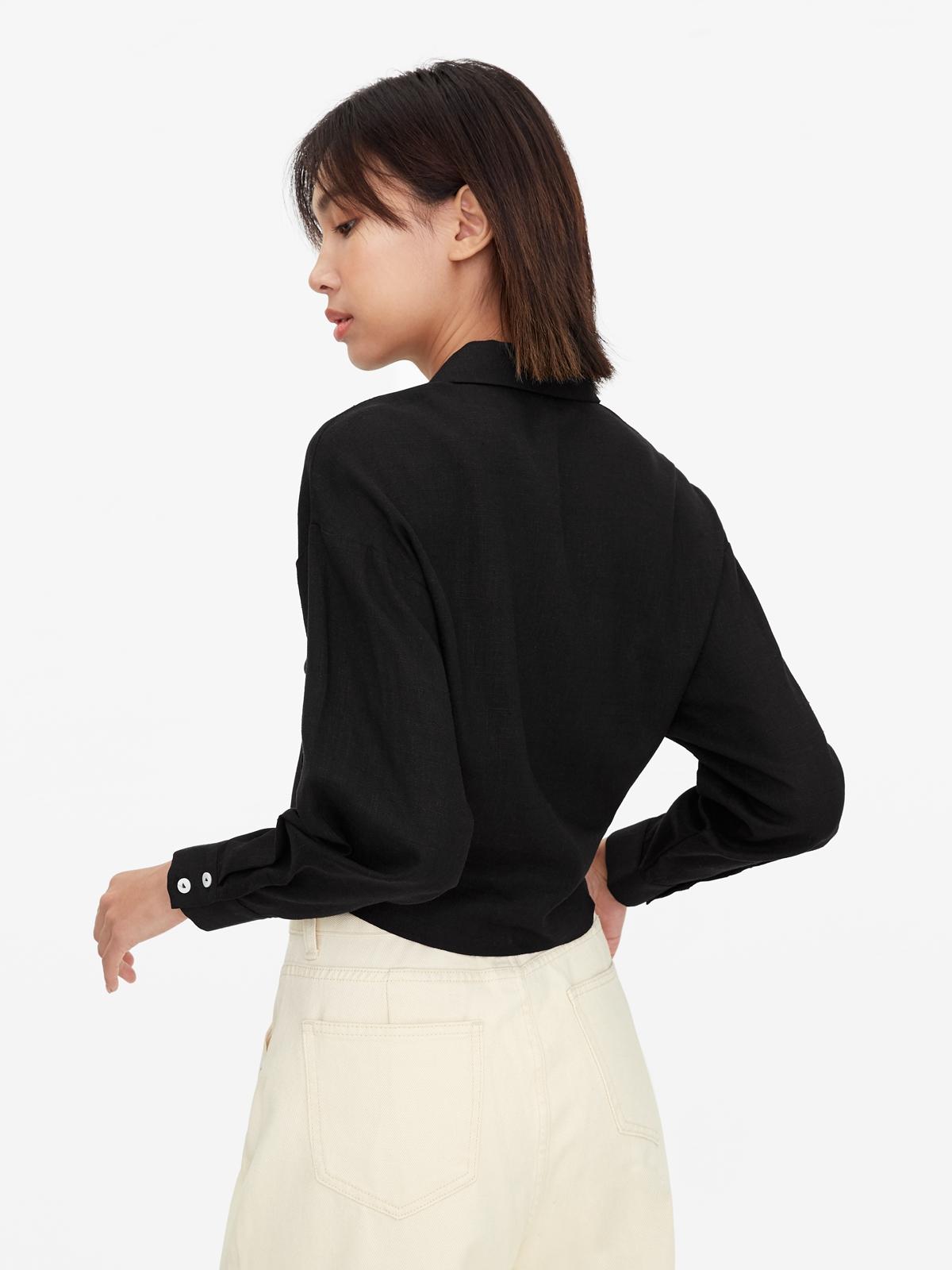 Front Tie Drop Shoulder Shirt Black