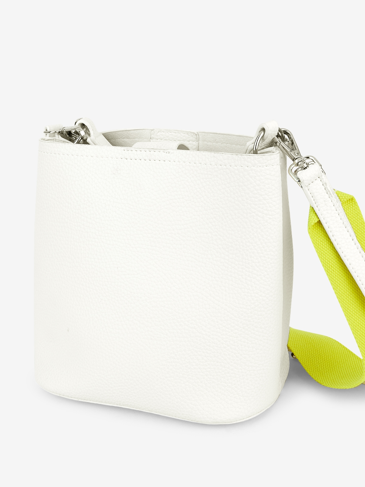 Contrast Double Strap Bucket Bag White