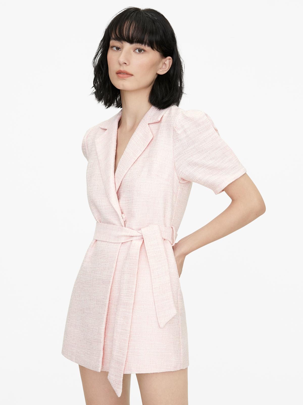 Tweed Puff Sleeve Romper Pink