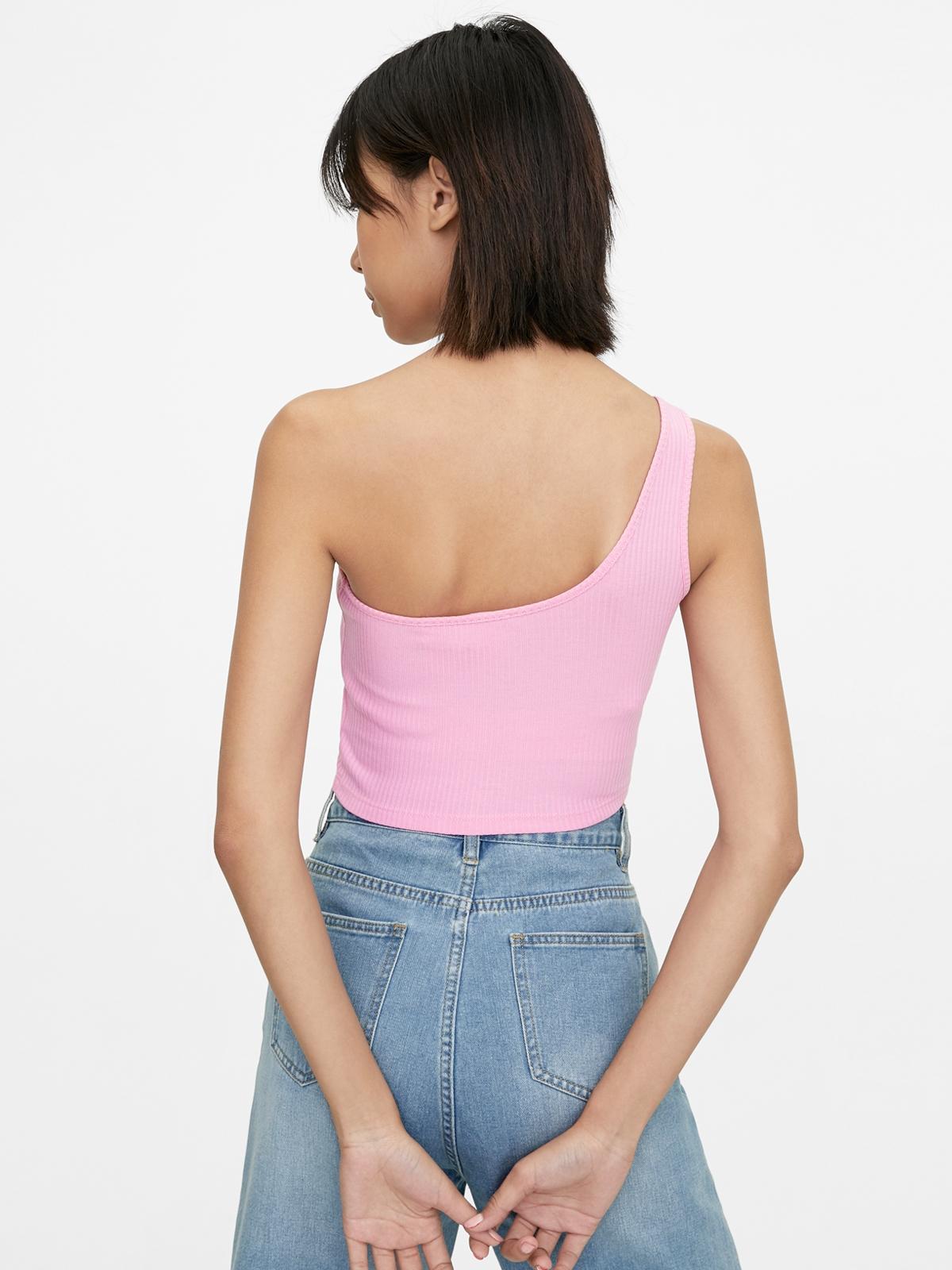 Ribbed One Shoulder Crop Top Pink