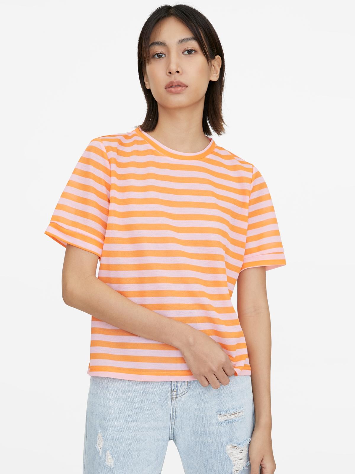 Striped Loose Crew Neck Tee Orange