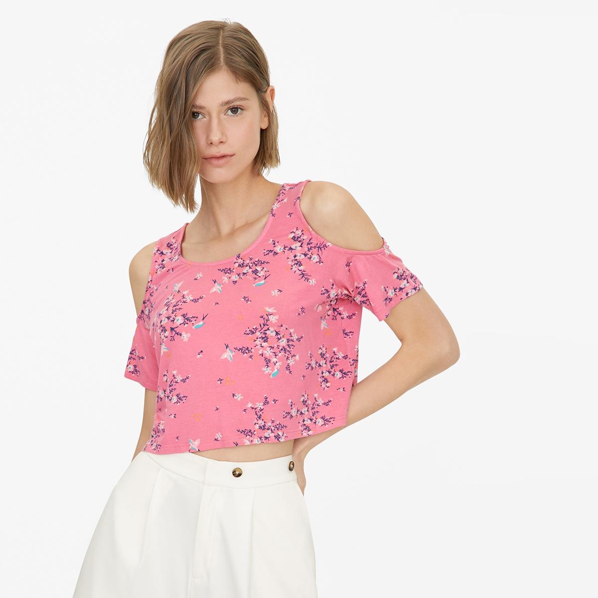 Cold Shoulder Floral Crop Top Pink