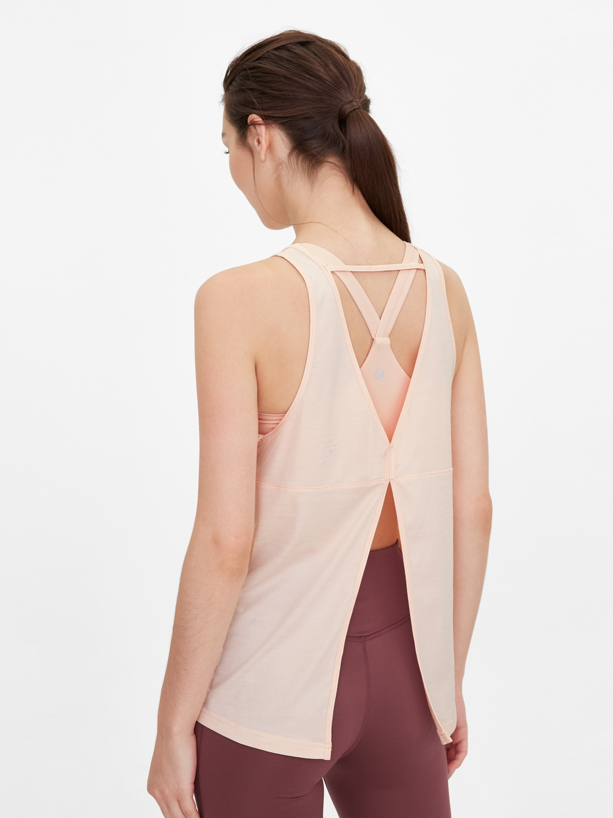 Wakingbee Open Back Cover Top Pink