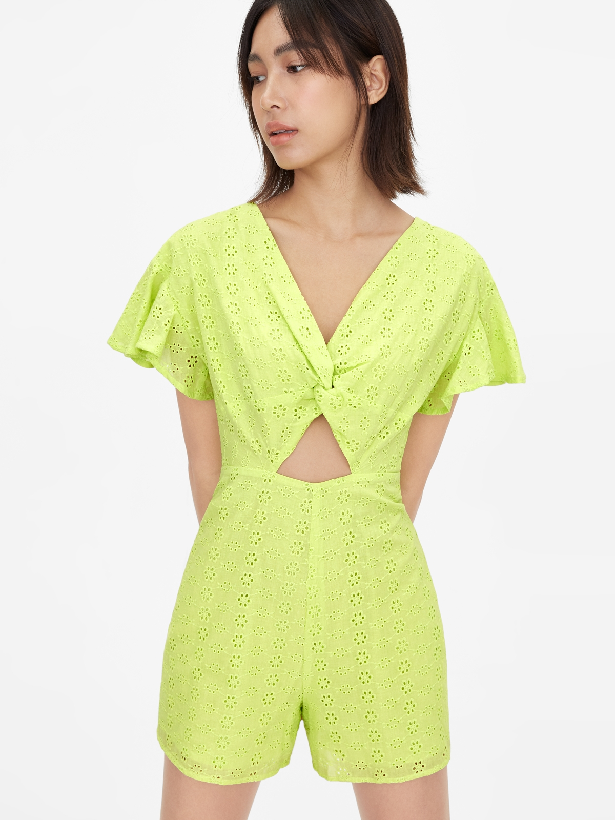 Cut Out Eyelet Romper Green