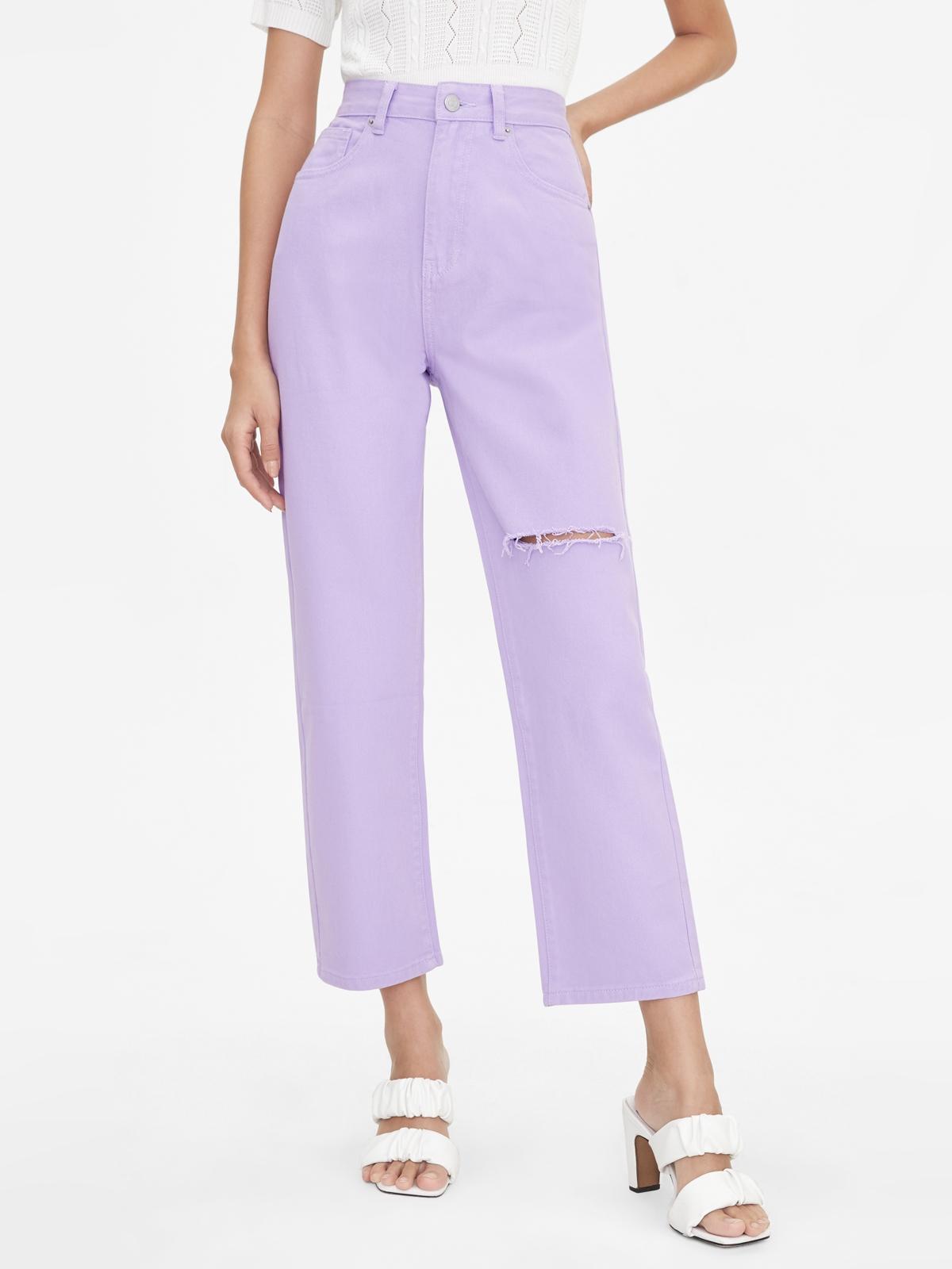 Single Ripped High Waist Denim Pants Purple