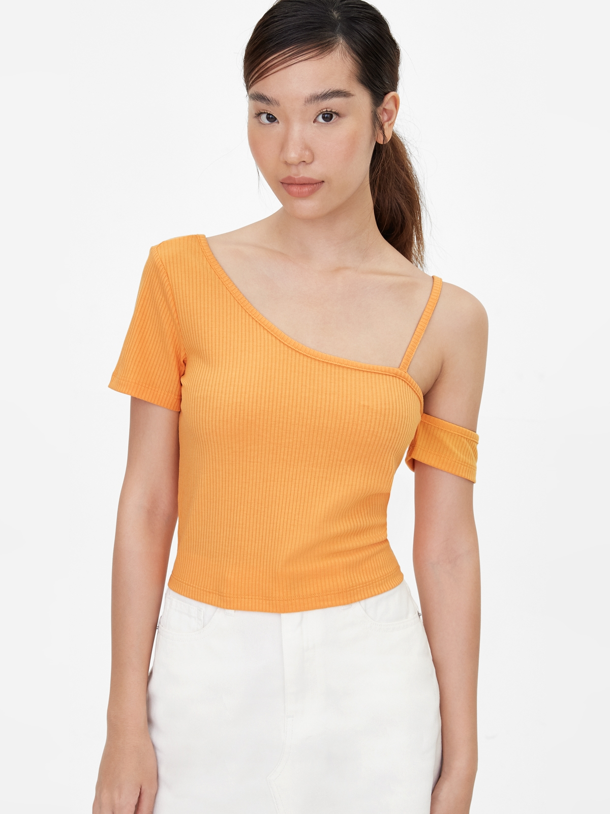 One Shoulder Strap Crop Top Orange