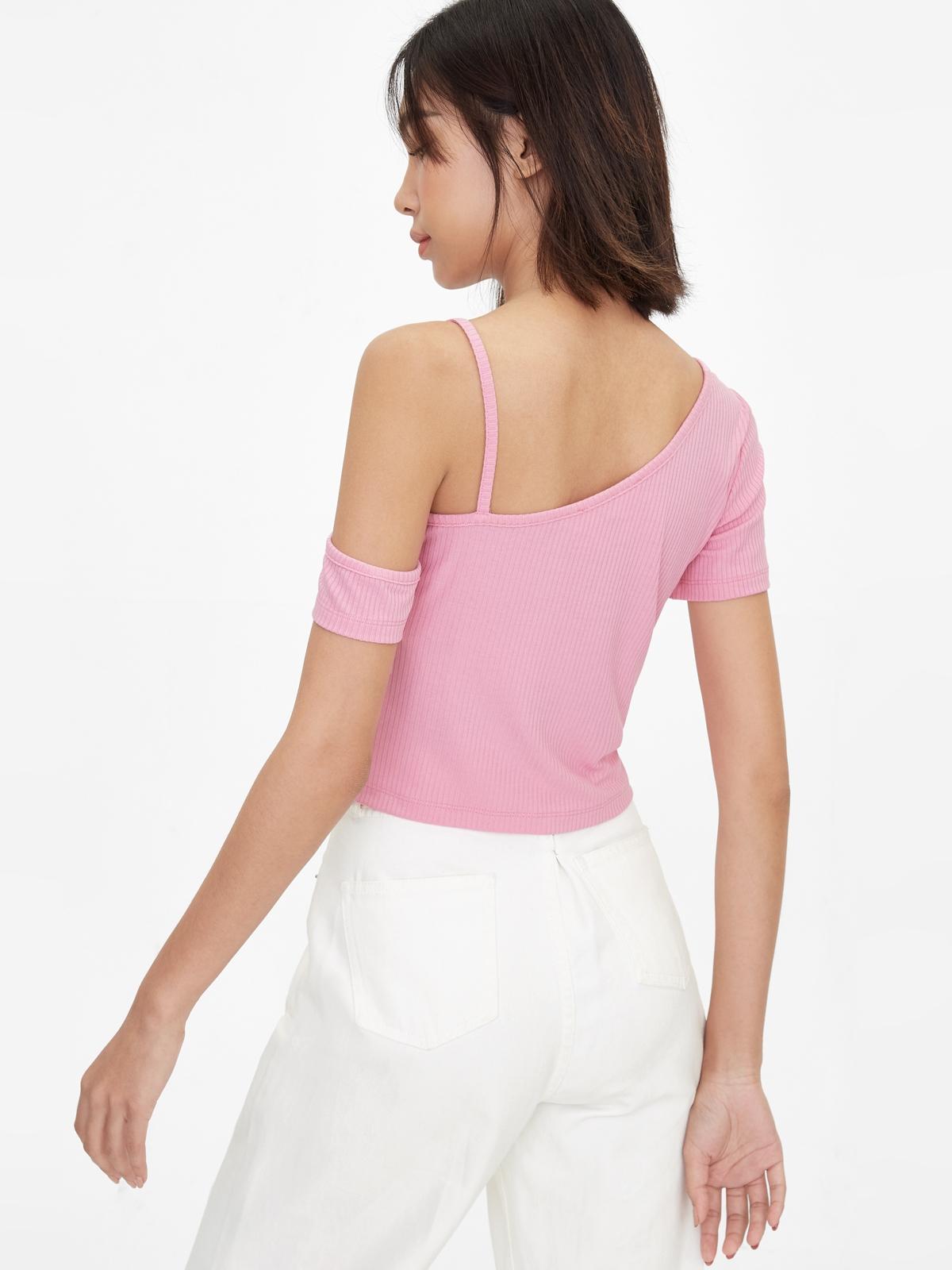 One Shoulder Strap Crop Top Pink