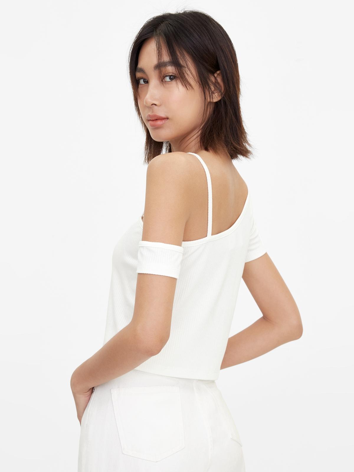 One Shoulder Strap Crop Top White