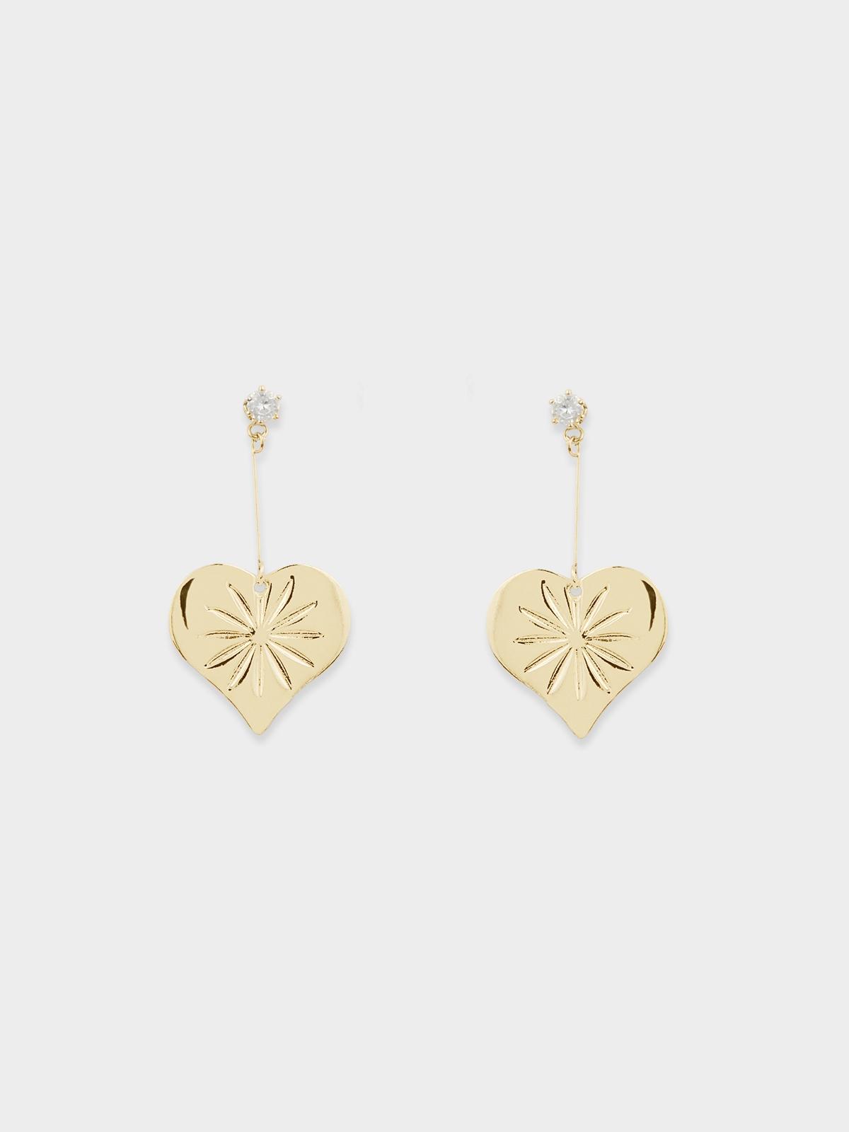 Heart Plate Flower Engraved Drop Earrings Gold