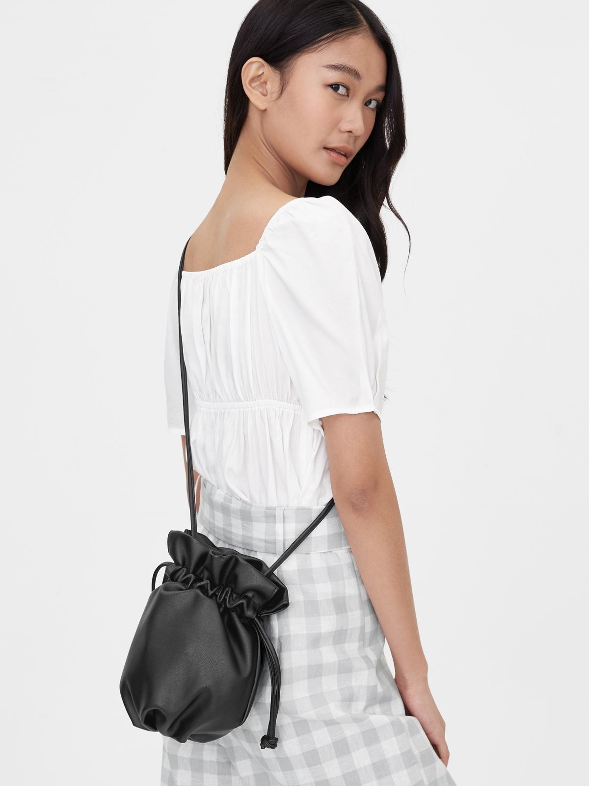 Mini Drawstring Crossbody Bag Black
