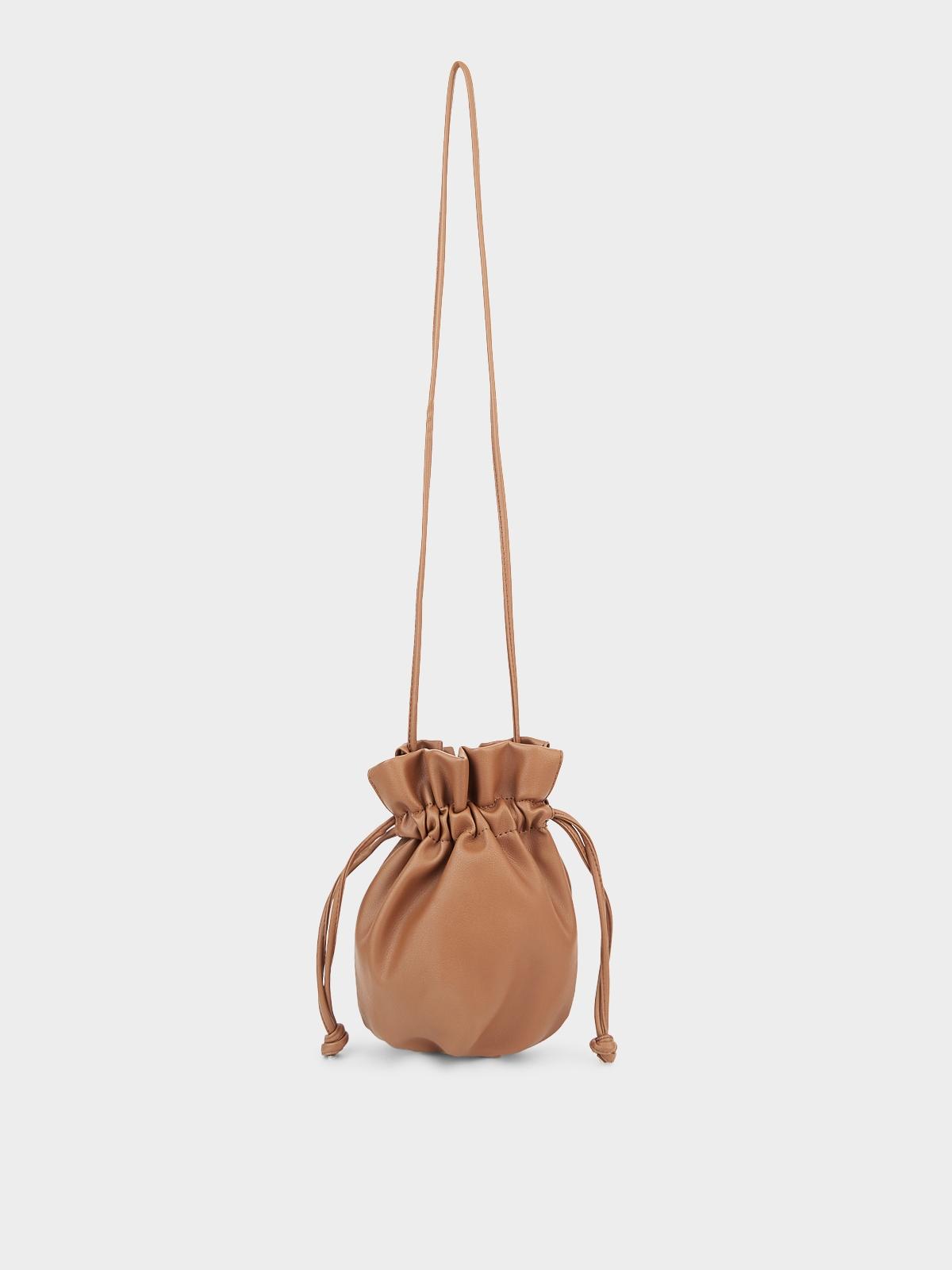 Mini Drawstring Crossbody Bag Brown