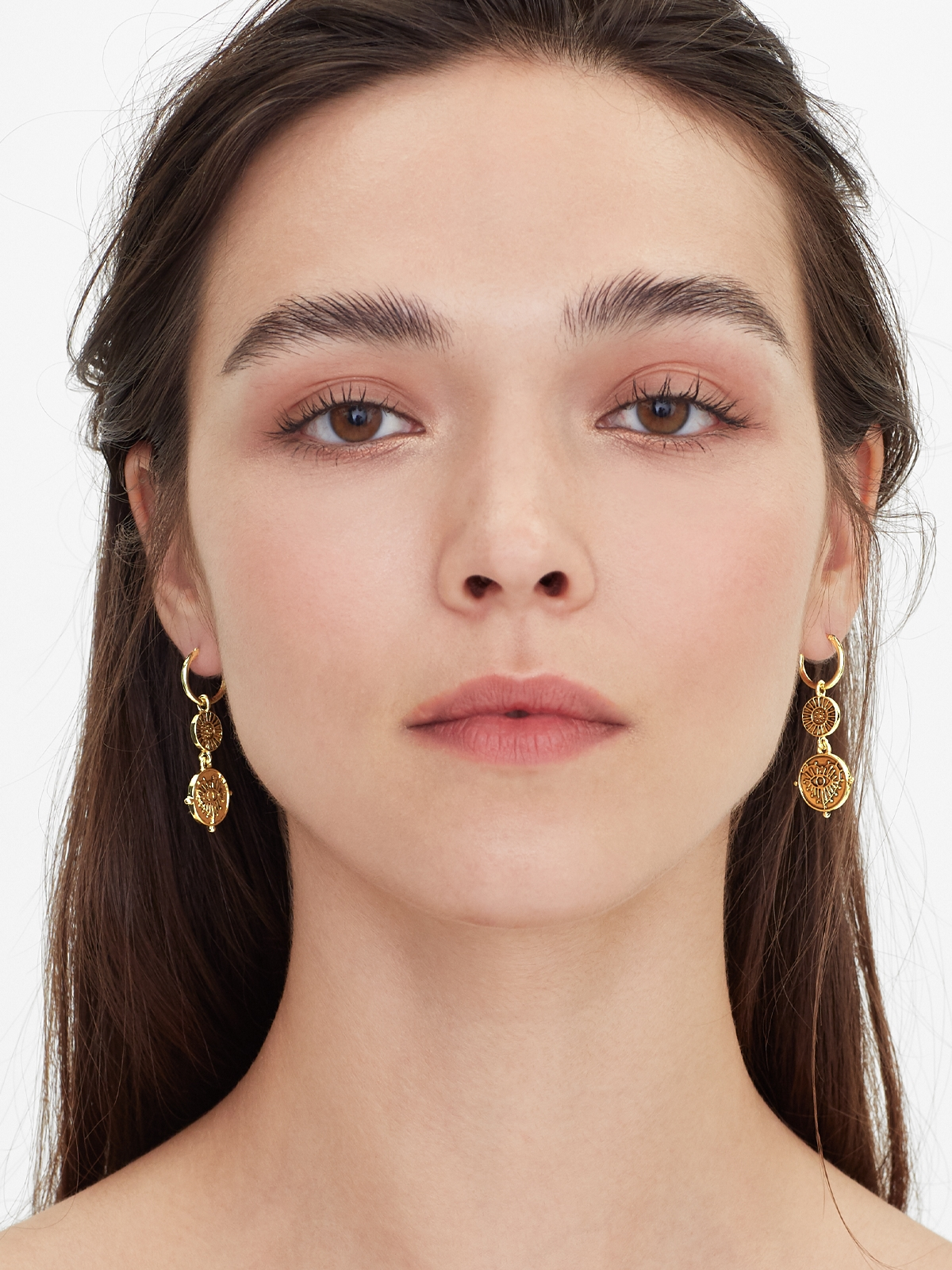 Heart Eye Pendant Drop Earrings Gold