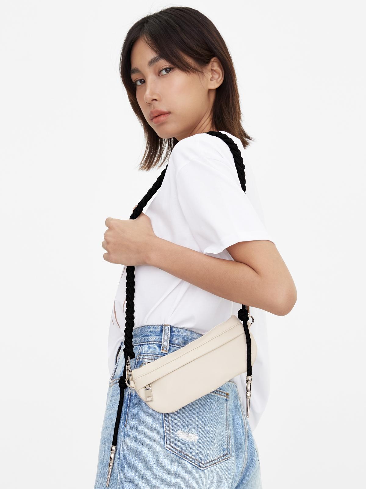 Braid Strap Belt Bag White