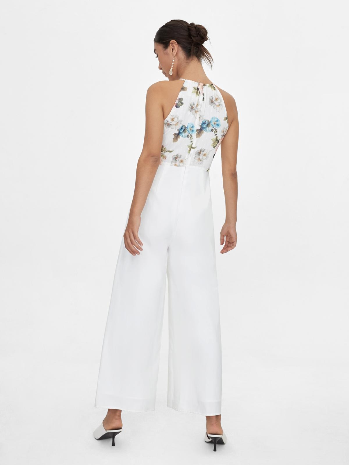 Halter Neck Floral Jumpsuit White