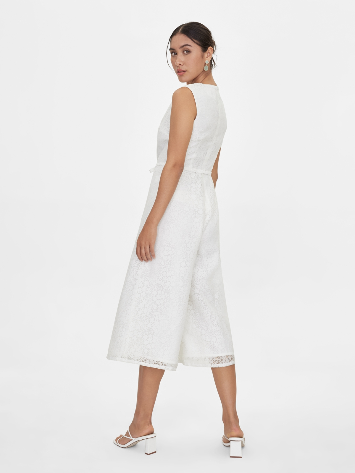 Sleeveless Wide Leg Cropped Jumpsuit White