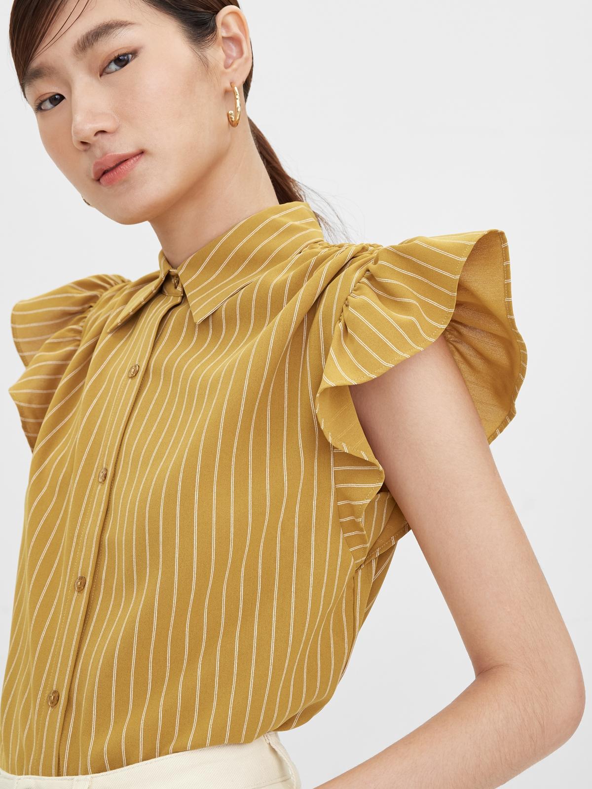 Ruffled Sleeves Striped Shirt Mustard