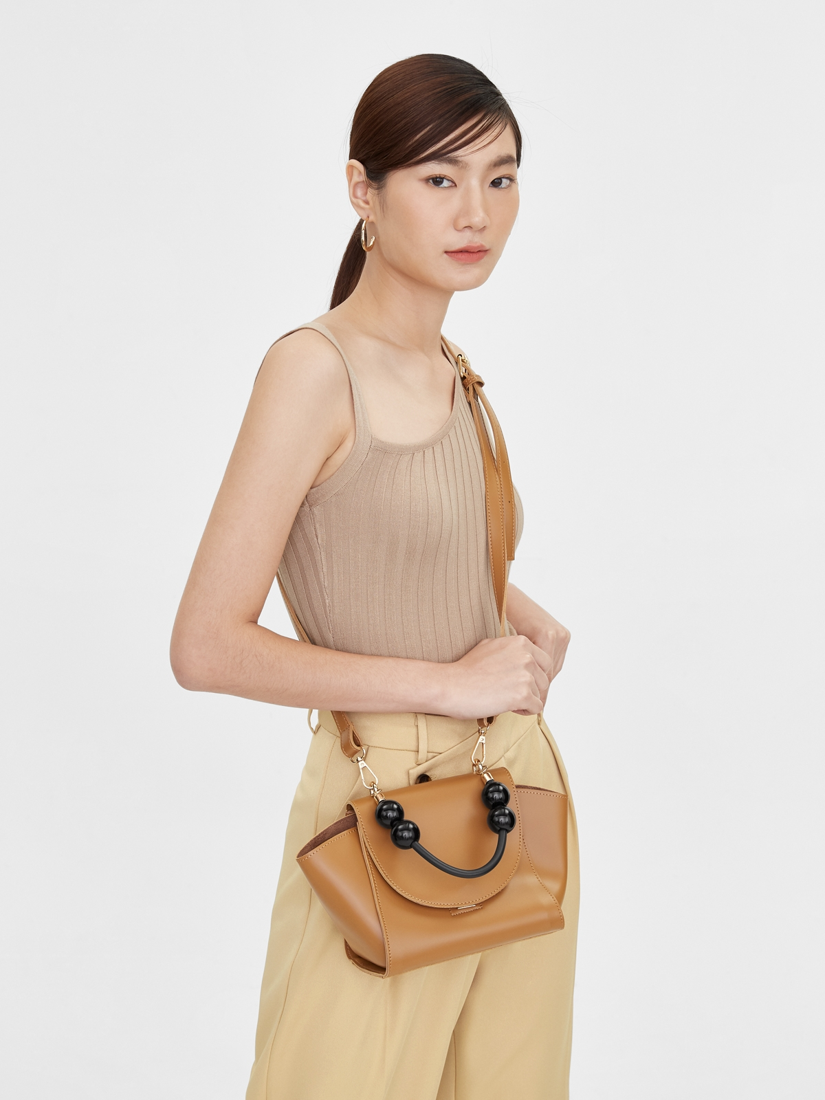 Mini Contrast Handle Trapeze Bag Brown