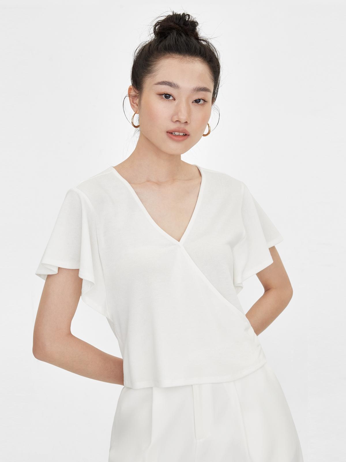 V Neck Flared Short Sleeves Top White
