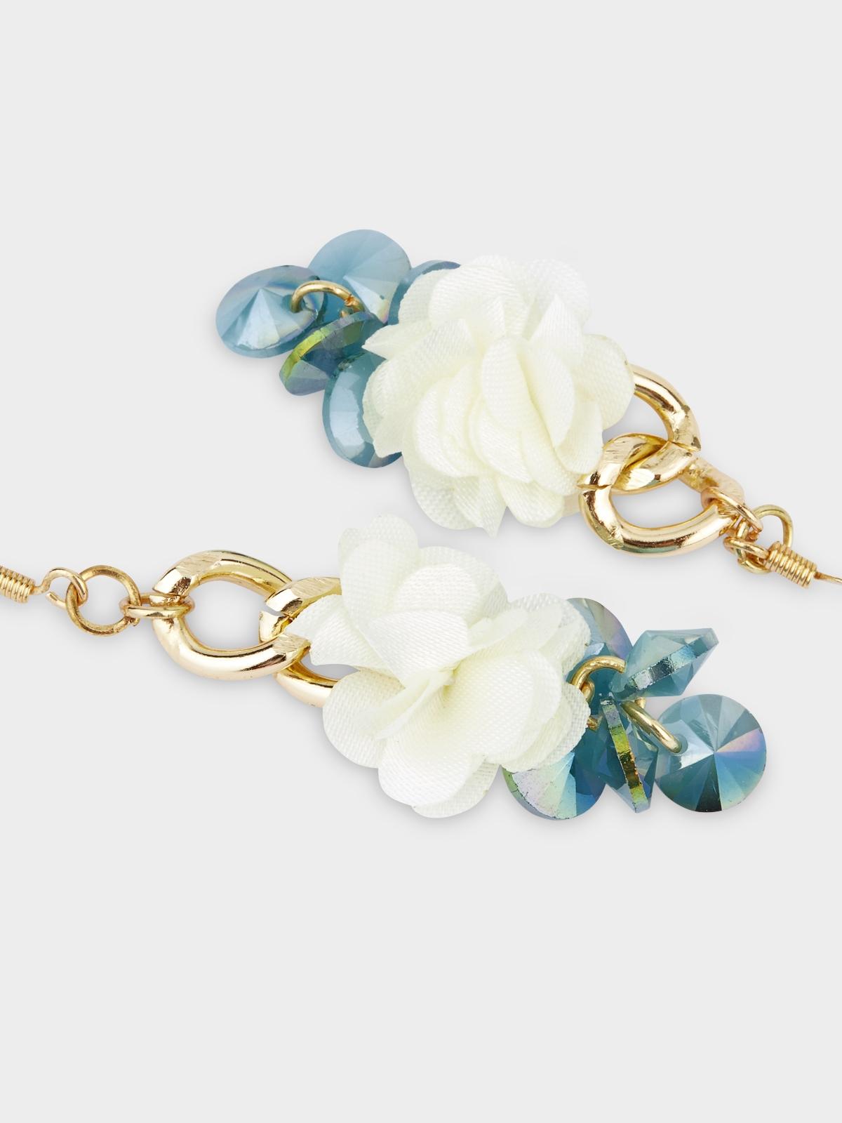 Two Tone Flower Drop Earrings Cream