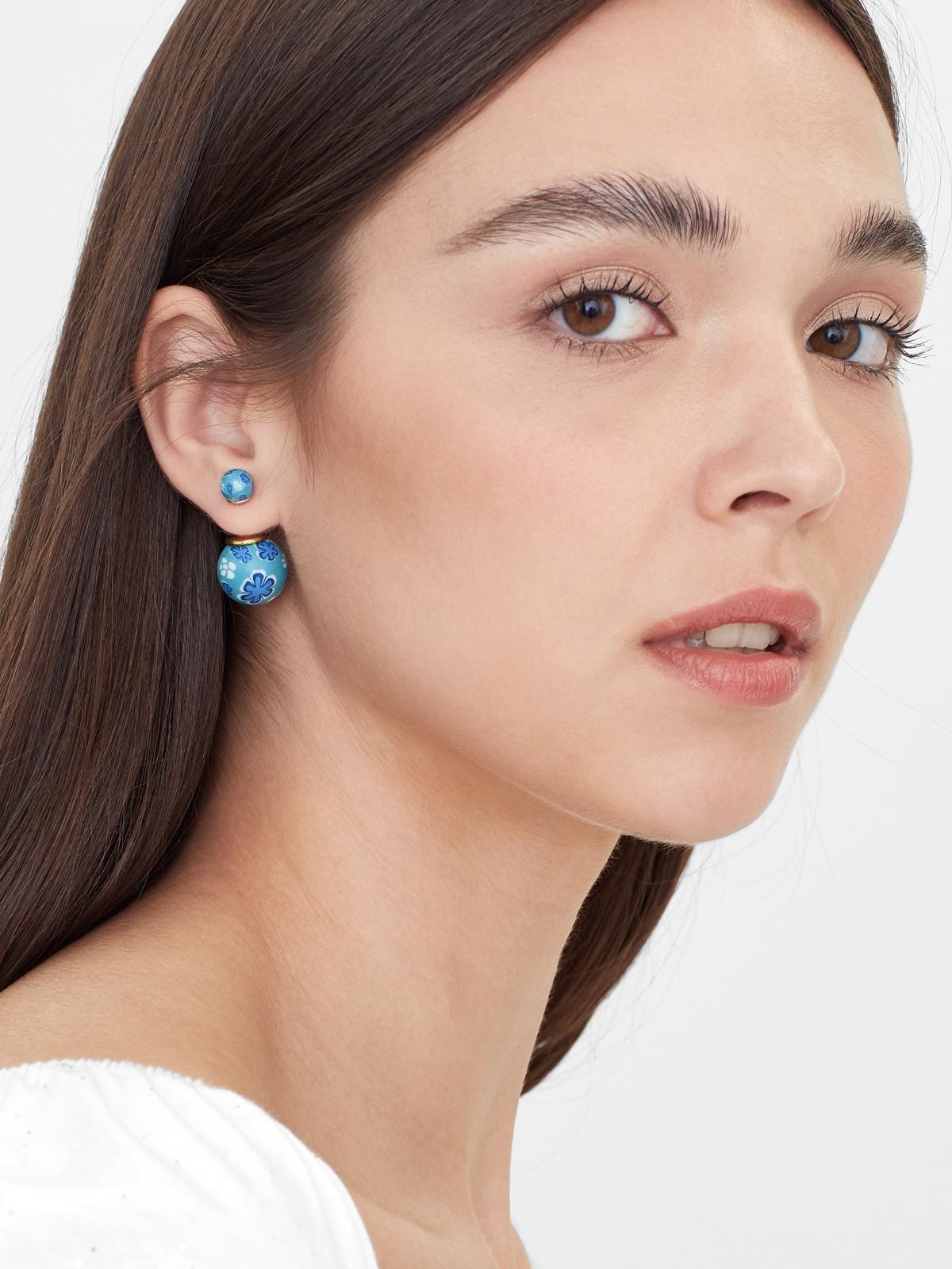 Petal Ball Stud Earrings Blue