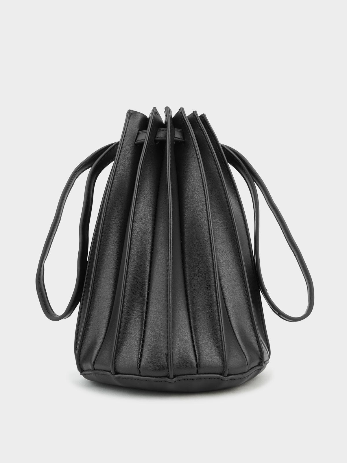 Pleated Leather Handbag Black