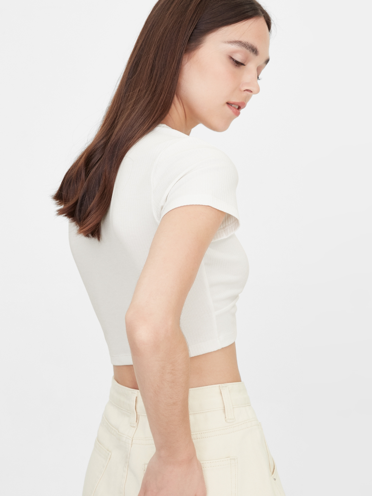 Rounded Cut Out Crop Top White