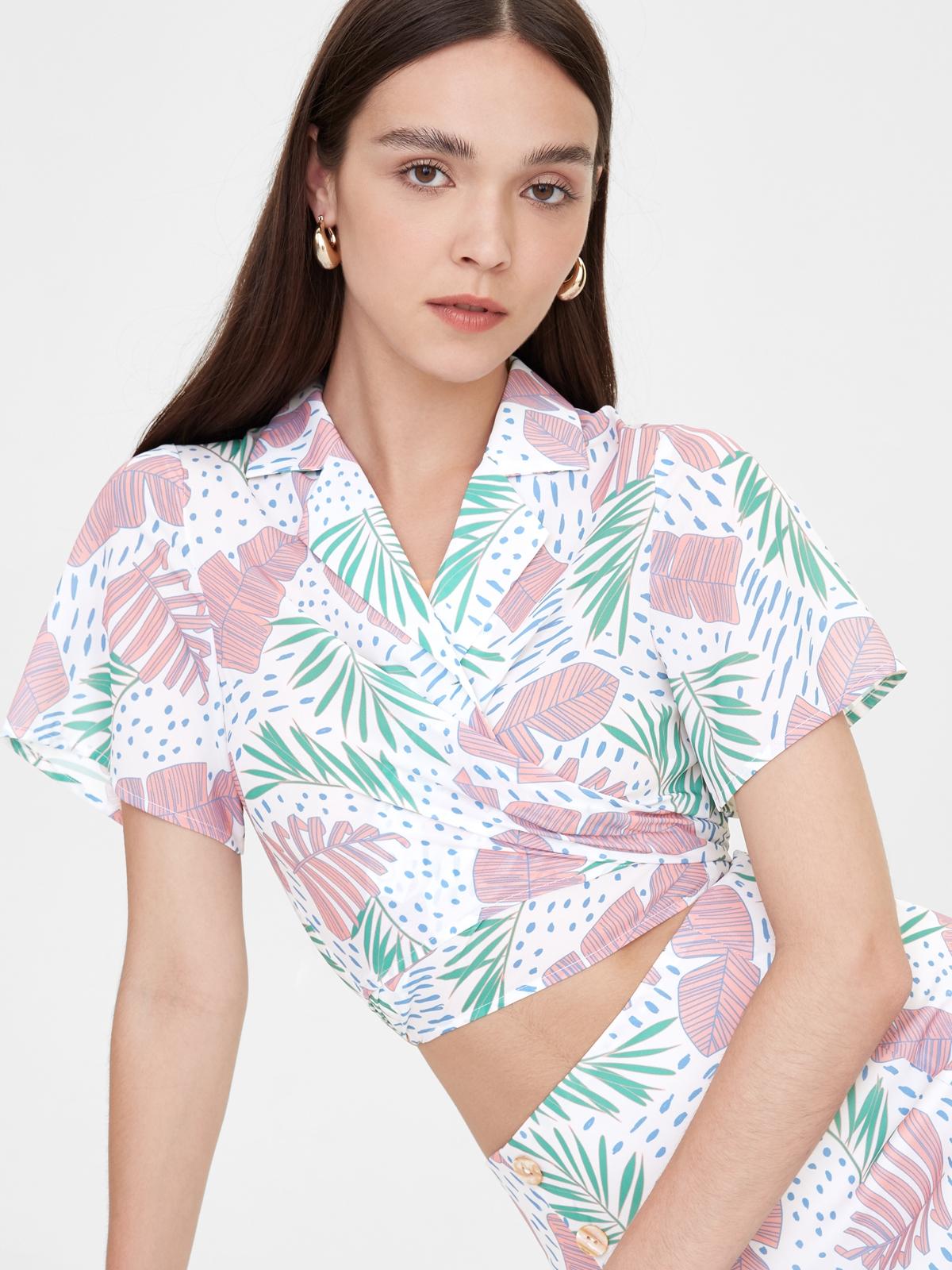 Tie Front Leaf Print Top Pink