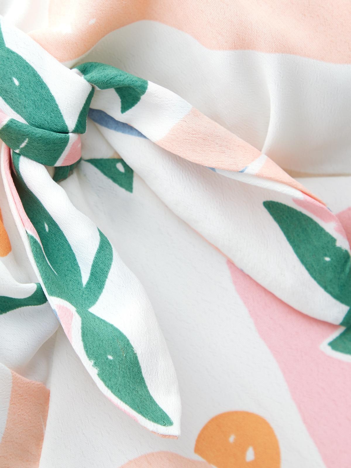 Fruit Print Tie Front Cami Dress White