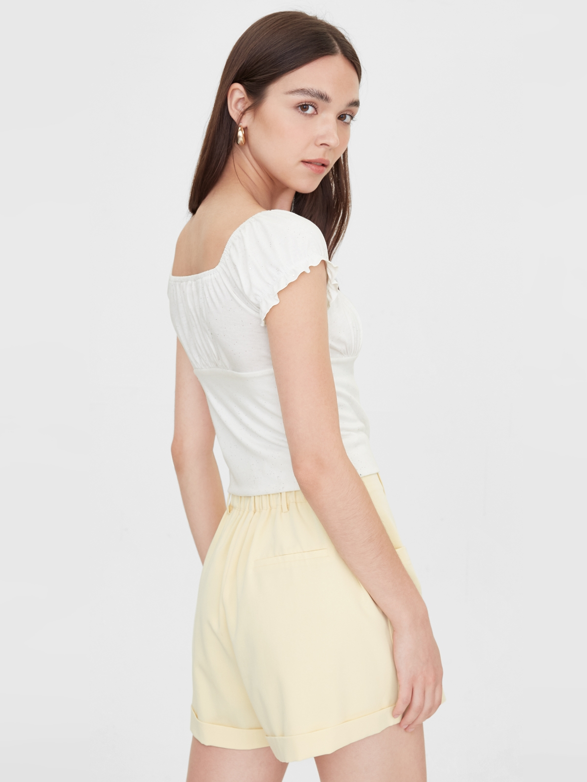 Puff Sleeve Buttoned Up Top White