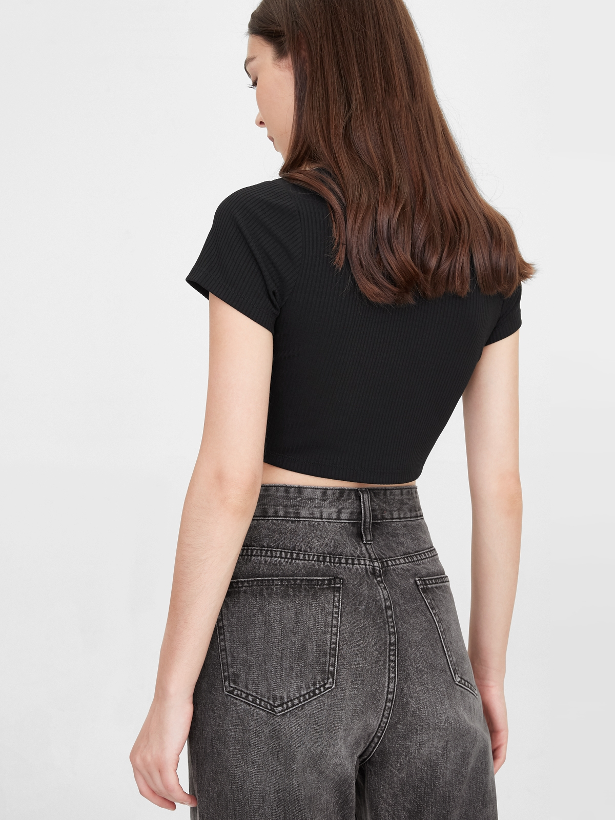Rounded Cut Out Crop Top Black
