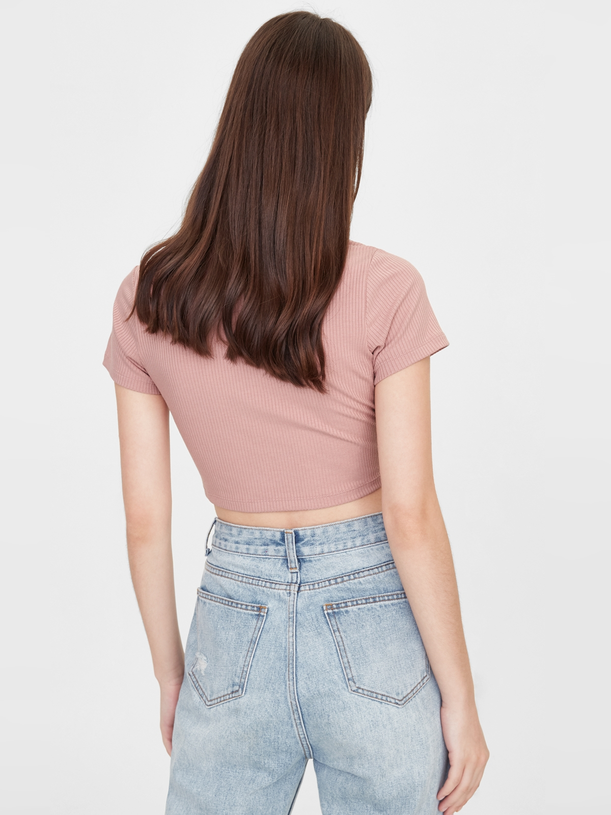 Rounded Cut Out Crop Top Pink