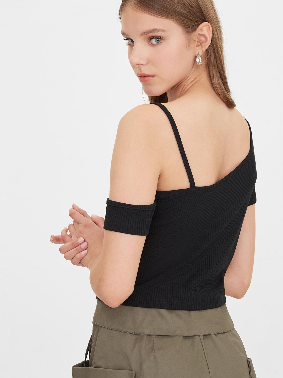 One Shoulder Strap Crop Top Black