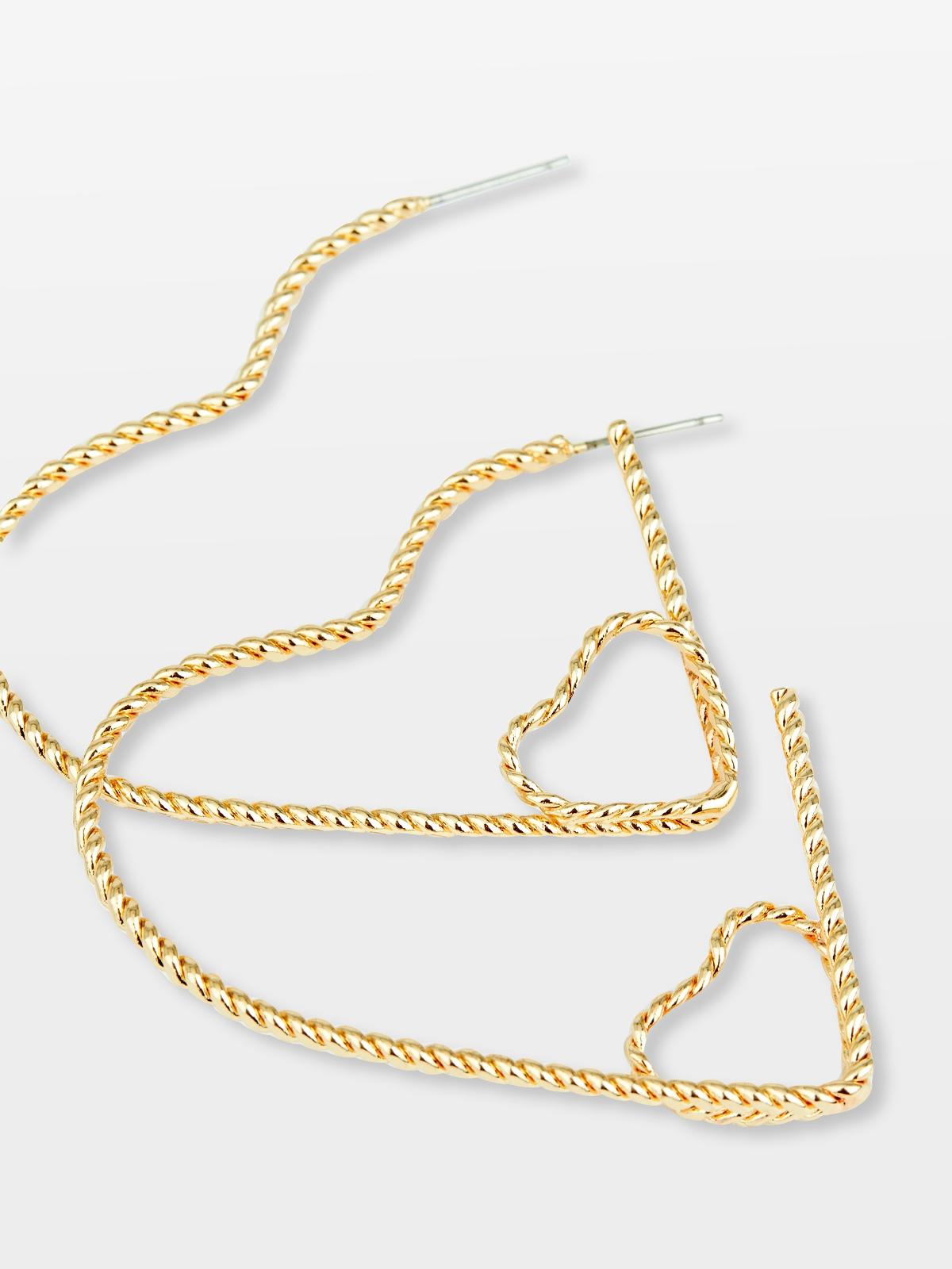 Double Heart Shaped Chain Hoop Earrings Gold