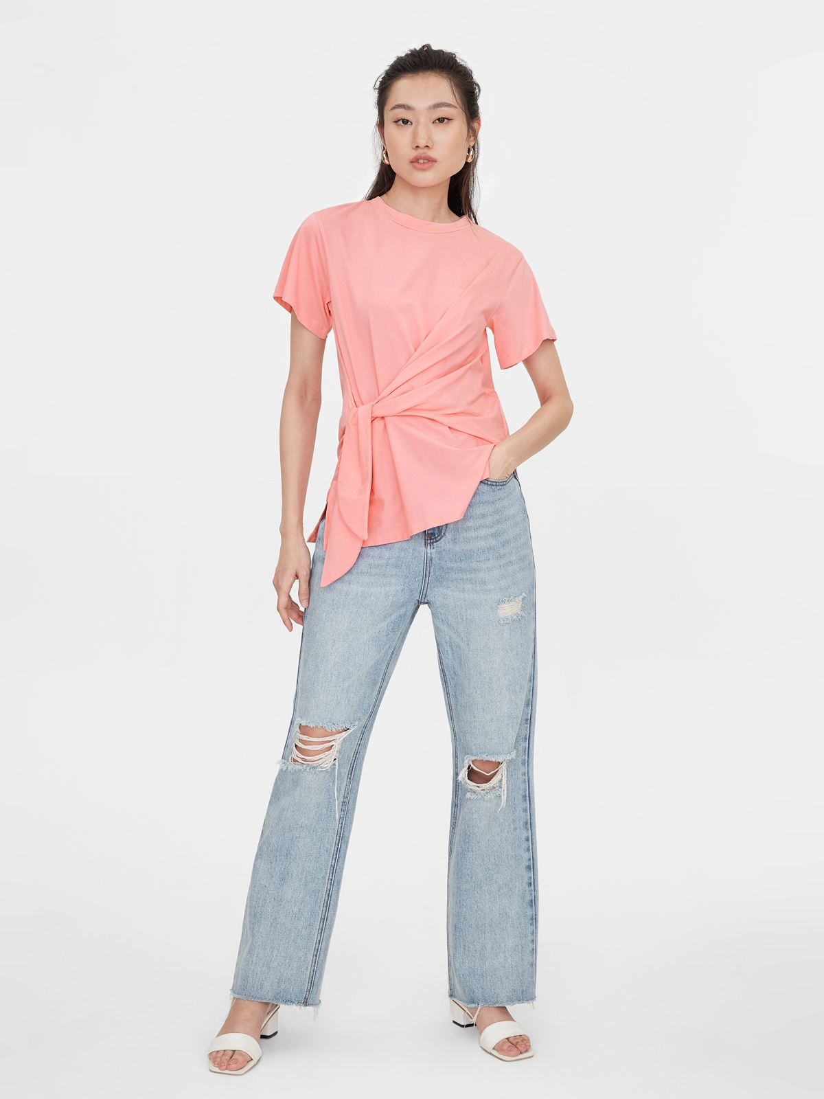 Oversized Side Knot Tee Pink