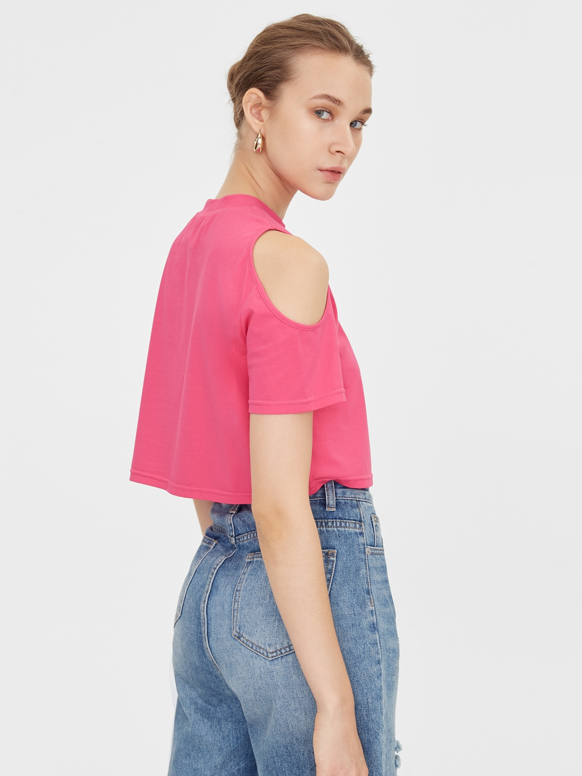 Shoulder Cut Out Tee Pink