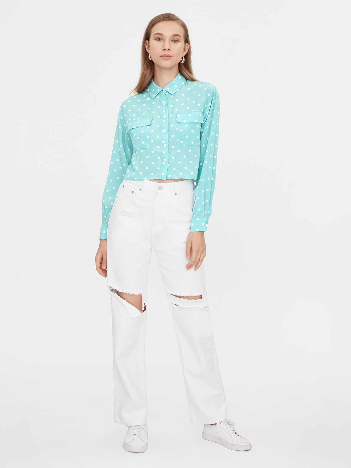 Polka Dot Double Pockets Shirt Blue