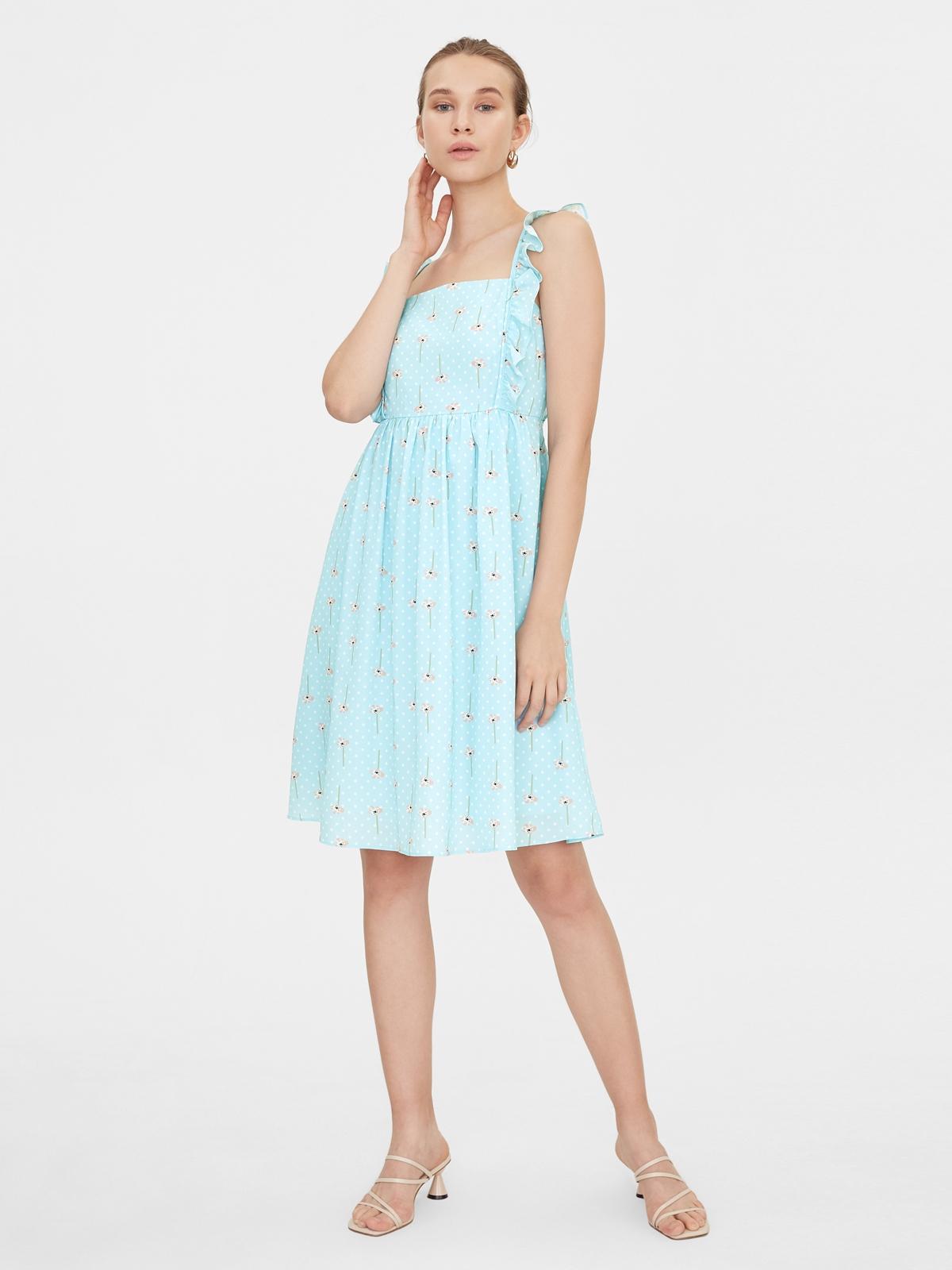Frill Shoulder Square Neck Dress Blue