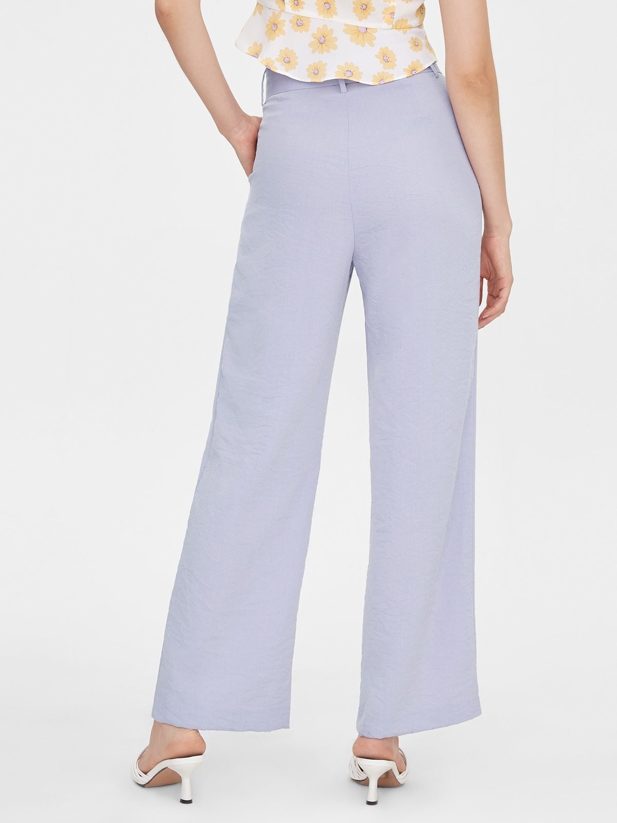 Paperbag Belted High Waist Pants Purple