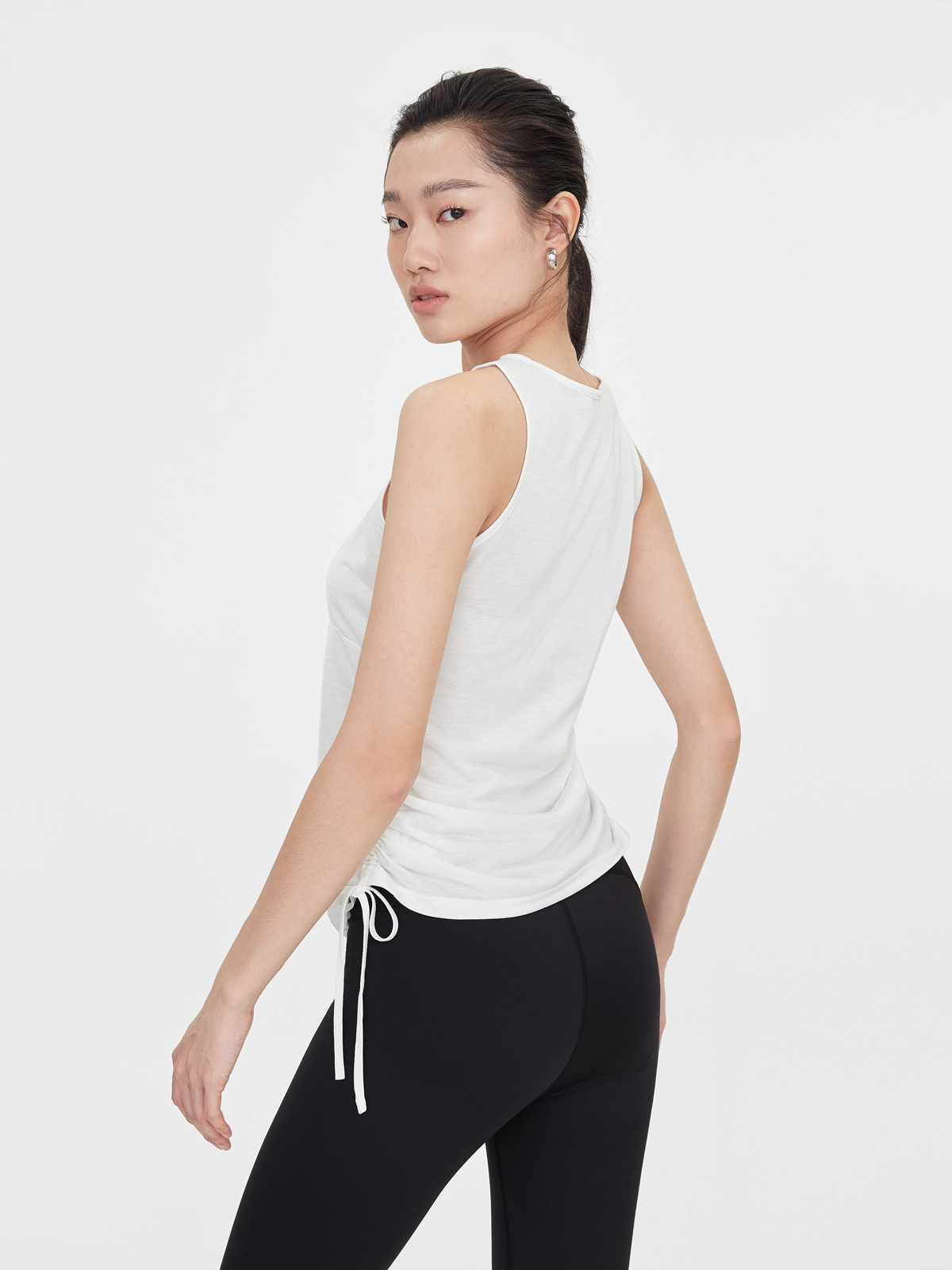 Side Ruched Loose Tank White